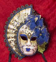 Maschera Di Venezia Volto Viso Femminile Ventaglio Blu Dorata - 2062