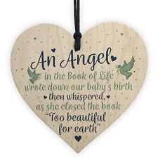 Angel Baby Memorial Gifts Wooden Heart Plaque Heaven Love Bereavement Sign