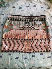 New Endless Rose Sequin Skirt Size L Large Geo Pattern White Blue gold Mini NWOT
