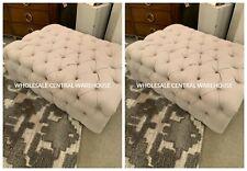 "Two Kaniel 43"" Antiqued White Linen Button Tuft Cushioned Ottoman Oak Wood Base"