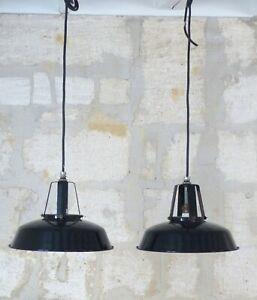 1930 PAIR Large Antique Vintage Industrial Enamel Industrial Pendant Lights Lamp