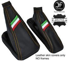 YELLOW STITCH ITALIAN FLAG REAL LEATHER BOOT SET FOR ALFA ROMEO MITO 2008-2017