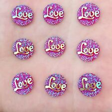 Hot 40PCS  12mm AB Resin Round  LOVE stone Flatback scrapbooking for phone