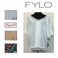 NEW! Fylo Woman's Short Sleeve loose fit Blouse Shirt - VARIETY SZ/CLR - B35