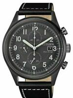 Citizen Eco-drive 45mm Gray Dial Black Leather Chrono Mens Watch CA0627-09H