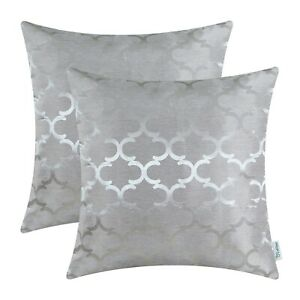2Pcs Silver Grey Cushion Covers Pillows Shell Cases Geometric Home Decor 40x40cm