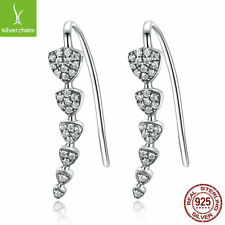 NEW!925 Sterling Silver Triangle Heart Long Drop Earrings with NEW Clear Pave CZ
