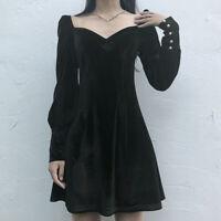 Women Ladies Velvet Dress Puff Sleeve Retro Gothic Lolita Party Club Mini Black