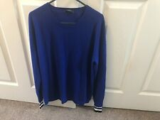 Paul Smith Blue long-sleeve jumper Striped Cuffs size S RRP 150