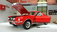 Red Model Ford Mustang 1967 GT Fastback 1:24 Scale Welly Diecast Detailed Car