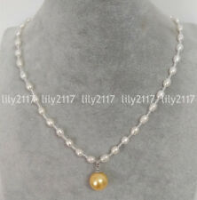6-7mm White Baroque Freshwater Pearl 14mm Yellow Shell Pearl Pendant Necklaces