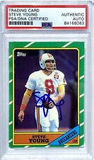 STEVE YOUNG SIGNED 1986 TOPPS ROOKIE FOOTBALL CARD 49ERS #374 PSA/DNA
