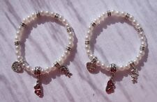 SET OF 2 PEARL & SILVER  BRACELETS - MOM DAUGHTER LITTLE GIRL I LOVE YOU CHARMS
