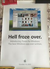 VINTAGE Hell Froze Over iTunes on Windows Apple Macintosh Poster Rare WWDC 2003