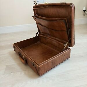 Vintage Antique Light Brown Leather Suitcase / Brief Case Shabby Chic