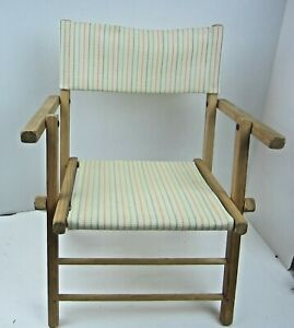 Vintage Wooden Canvas Child's Folding Director's chair Camping Playing