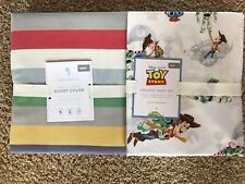 Pottery Barn Kids Max Stripe Twin Duvet & Disney Toy Story Twin Sheets Set New