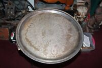 Large Antique Silver Metal Serving Tray Intricate Scroll Designs Circular