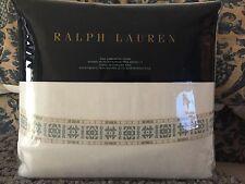RALPH LAUREN CORRAL CANYON LATIGO LINEN/BLEND KING DUVET ($570.)~WHITE AQUA