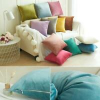 Suede Candy Color Throw Pillow Cover Sofa Waist Couch Bed Cushion Case Covers