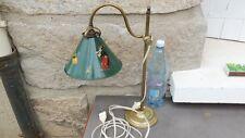 Ancienne lampe de bureau col de cygne laiton avec abat jour conique métal vert