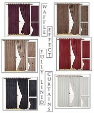 Jacquard Waffle Effect Lined Eyelet-Ring Top Curtains In 6 Colours & 15 Size