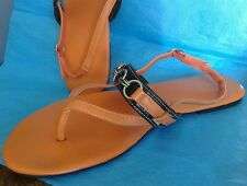 NY&CO Sandals Size 11 Orange Brown Silver CHAIN LINK
