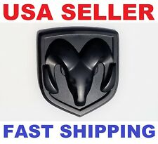 NEW 3D DODGE RAM HEAD MATTE BLACK EMBLEM LOGO BADGE FRONT HOOD FLAT TRUNK GRILLE