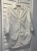 ZARA WOMAN/BASIC COLLECTION WHITE OVER SIZED FLOWY SHIRT DRESS TUNIC SIZE M