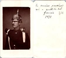 CDV Soldat casqué, le dernier prussien qui a quitté le sol français, 1871 Vintag