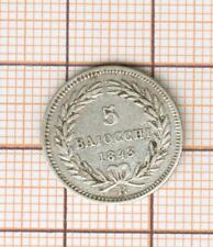 papal states silver  5 baiocchi 1843