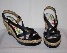 GUESS Black Slingback Braided Wedge 6 1/2 6.5 M Women's Heels Shoes SH20 *NEW