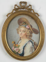 """Portrait of 18th-century lady"", French miniature, ca. 1900"