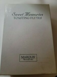 sweet memories toasting flutes set  Marques By Waterford with gold rim