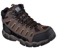 77054 SKECHERS Work Mens Blais Bixford Dark Brown DBRN Steel Toe Boot