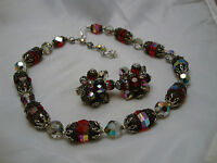Vintage Estate Jewelry Vendome Red Crystal Earrings Necklace Set sparkle