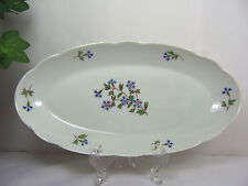 "Imperial Limoges France INGRES Oval Relish Dish BLUEBELL FLORAL  9-1/2"" x 4-3/4"""