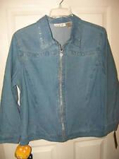 C.D. Daniels Denim Rhinestone Jacket Womens Size 1X NWT  #56