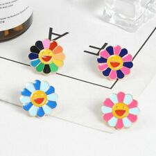 Brooch Sunflower Badges Art Women Gift Rainbow Flower Enamel Pins Smiling Flower