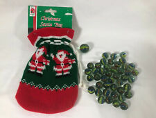 VINTAGE CAT'S EYE MARBLES 43 & 1 Large Dummy Marble With A Christmas Santa Bag