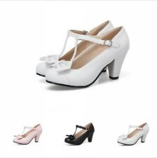Women's Princess Girls Lolita T Strap Bowknot Round Toe Thick Heel Mary Janes B