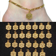 Initial Letter Pendant Charm Anklet Jewelry Women Men Gold Anklets Chain Hexagon