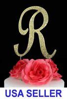 "Large Rhinestone Crystal Monogram ""R"" Wedding Cake Topper 5"" inch High Gold"