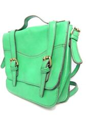 Vintage 1980s Green Cross Body Shoulder Bag Purse Vinyl Retro Vegan Non-Leather