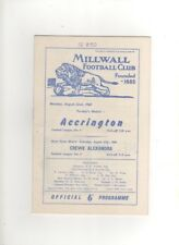 1960-61 MILLWALL v ACCRINGTON STANLEY 22nd August 1960 Division 4