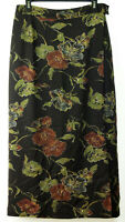 Eddie Bauer Rayon/Wool Blend Brown Floral Lined Long Straight Wrap Skirt 12