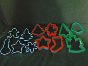 Group Of 12 Christmas Cookie Cutters Plastic & Metal - Star Tree Santa Snowman +