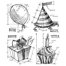 Tim Holtz Rubber Stamp Set-Anniversaire Blueprint CMS 153