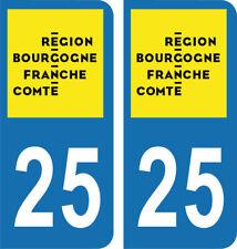 Département 25 -2 autocollants LOGO immatriculation AUTO PLAQUE BOURGOGNE 2018