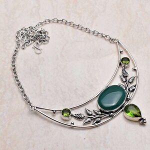 Green Onyx Peridot Ethnic Handmade Necklace Jewelry 35 Gms AN 95873